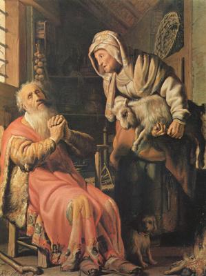 Rembrandt Harmenszoon van Rijn. Tobit, suspecting his wife of stealing