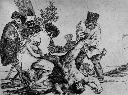 "Francisco Goya. The series ""disasters of war"", page 33: is There a limit to crime"