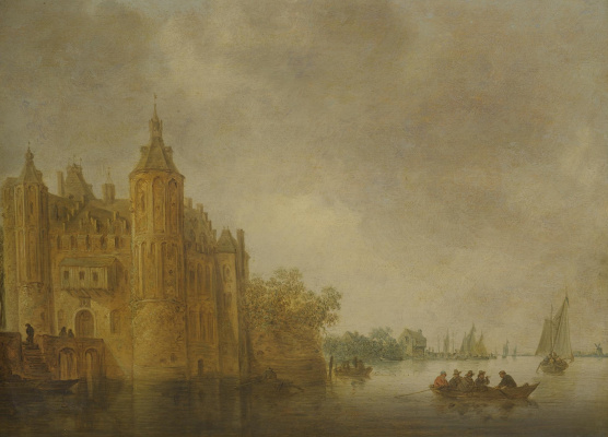 Jan van Goyen. Boats on the river front of the castle