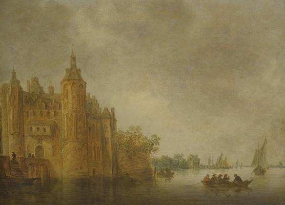 Ян ван Гойен. Лодки на реке перед замком