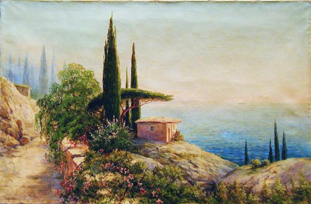 Gabriel Pavlovich Kondratenko. Crimean landscape with a hut