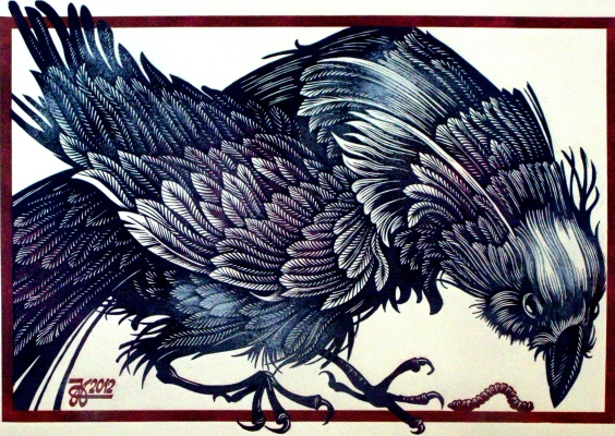 "Vladimir Kataev. ""Bird curious"", linocut, 45Х64,5 , 2012"