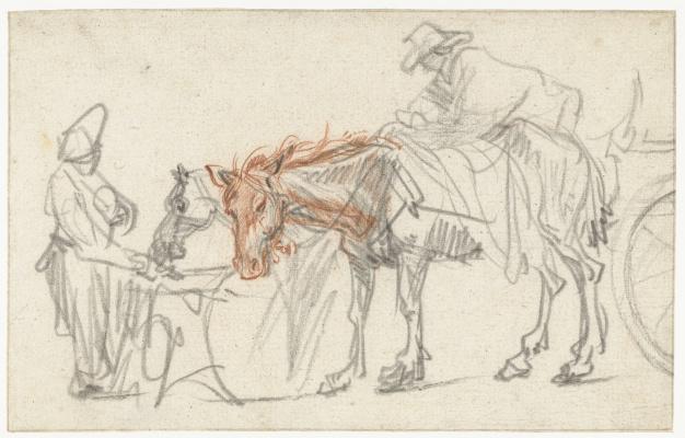 Рембрандт Харменс ван Рейн. Две лошади на стоянке