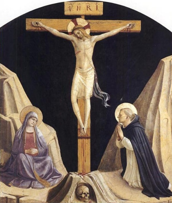Fra Beato Angelico. Crucifixion with the Virgin and St. Dominic. Fresco of the Monastery of San Marco, Florence