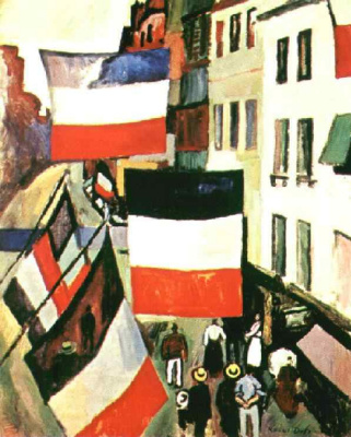 Raoul Dufy. Street with flags