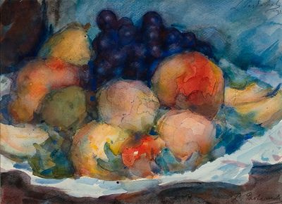Leonid Osipovich Pasternak. Still life with peaches and black grapes