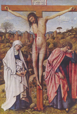 Jan van Eyck. Christ on the cross between Mary and St John