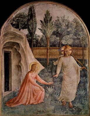 """Фра Беато Анджелико. """"Не прикасайся ко Мне!"""". Фреска монастыря Сан Марко, Флоренция"""