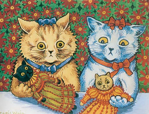 Louis Wain. Cats with dolls