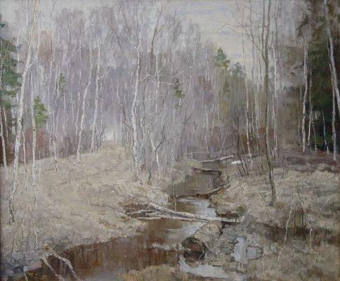 Борис Петрович Захаров. Весенний ручей в Лосином острове.