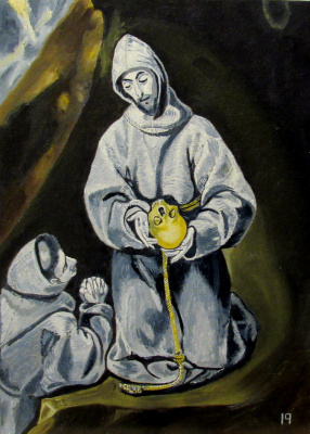 Artashes Vladimirovich Badalyan. El Greco (and workshop). St. Francis and brother Leo reflect on death - x-hardboard - 35x25