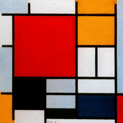 Piet Mondrian. Composition with large red plane, yellow, black, gray and blue