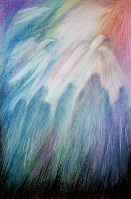 "Svetlana Ivanovna Kataeva. ""FOR HIM,LEADING TO the LIGHT THROUGH the DARKNESS"",boom.dry pastel 42х62"