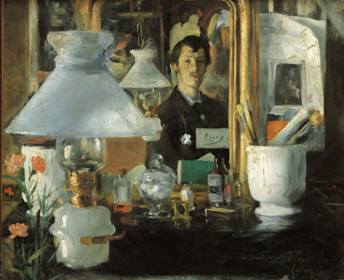 Ramon Casas i Carbó. Self-portrait in the workshop (Interior with a portrait in the mirror)
