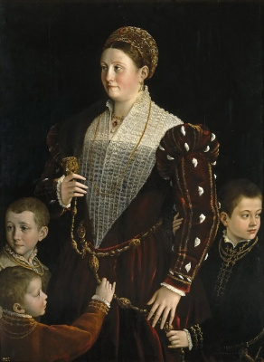 Francesco Parmigianino. Portrait of Camilla Gonzaga with her sons