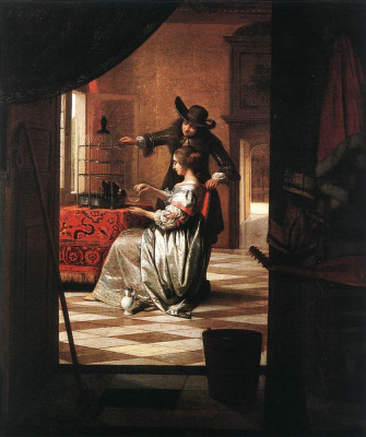 Pieter de Hooch. Couple with a parrot