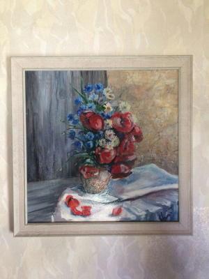 Liana Kvyshko. Bouquet with poppies