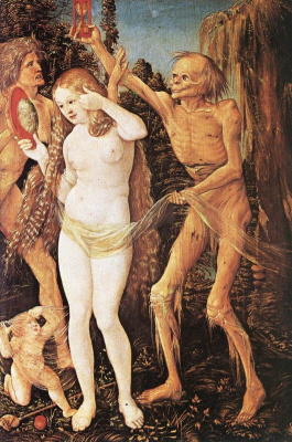 Hans Baldung Green. Allegory of Death and Beauty (part)