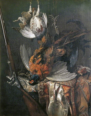 Willem van Aelst. Still life with a hunting rifle and game