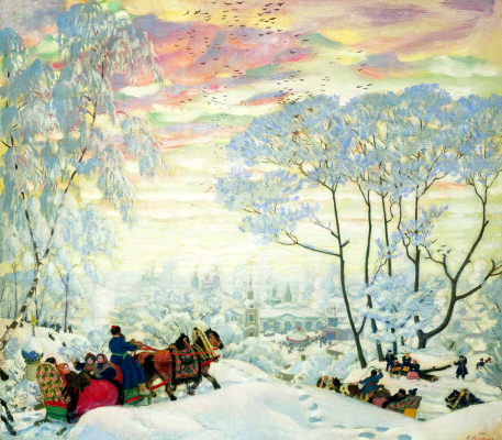 """Boris Mikhailovich Kustodiev. Winter. The picture """"Carnival"""""""