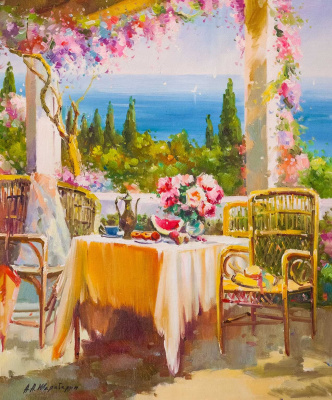 Andrey Sharabarin. Blooming terrace. Sea view