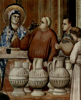 Giotto di Bondone. The cycle of frescoes of the arena chapel in Padua. The wedding in Cana of Galilee. Fragment