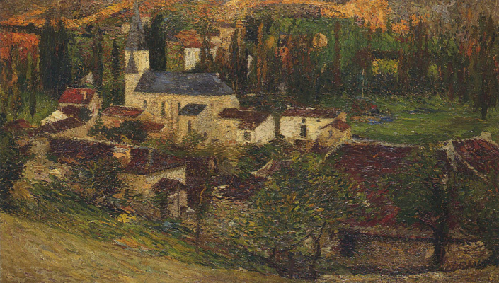 Henri Martin. The trees in the village