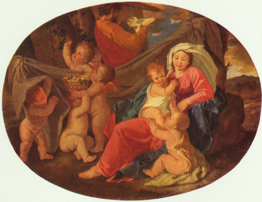 Nicola Poussin. Holy family with an angel, oval