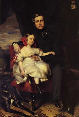 Франц Ксавер Винтерхальтер. Принц Александр де Ваграм и его дочь Малси