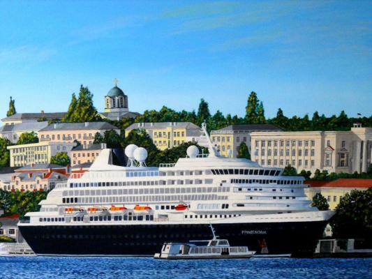 Сергей Астраханкин. Вид на пассажирский порт и центральный городской холм(Севастополь)