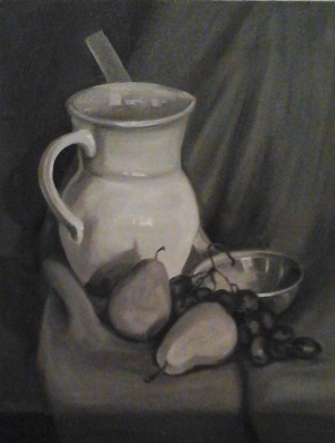 Stetskaya Alexandrovna Elena. Still-life with a ladle (Grisaille)