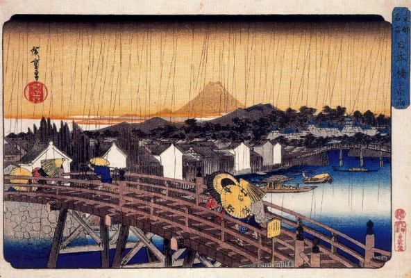 "Utagawa Hiroshige. The shower at Nihonbashi bridge. The series ""Famous places of the Eastern capital"""