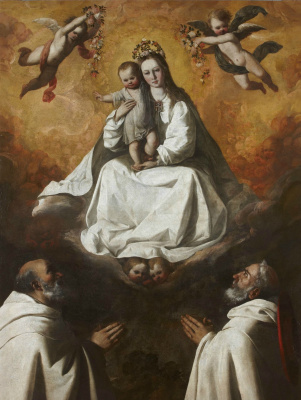 Francisco de Zurbaran. The virgin of mercy with two monks of Mercedarian