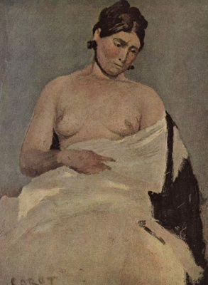 Camille Corot. Seated woman with naked breasts