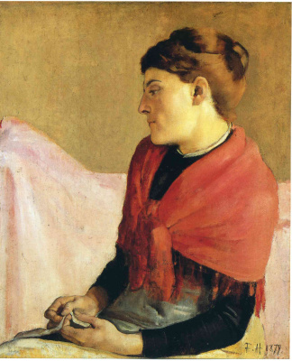 Ferdinand Hodler. A woman with a red kerchief on her shoulders