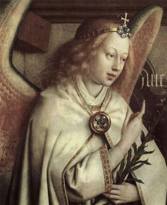 Губерт ван Эйк. Гентский алтарь, алтарь мистического агнца, левая створка внешняя сторона, центральная сцена: Благовествующий ангел, деталь: Лик