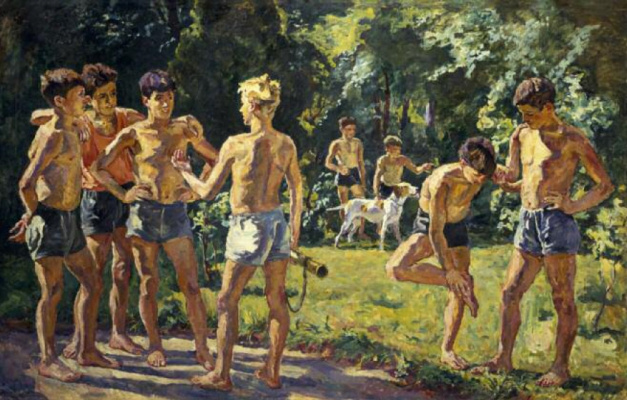Petr Petrovich Konchalovsky. In the summer (Day of the Spanish pioneers in the summer camp)