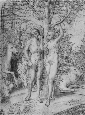 Lucas Cranach the Elder. Adam and eve in Paradise