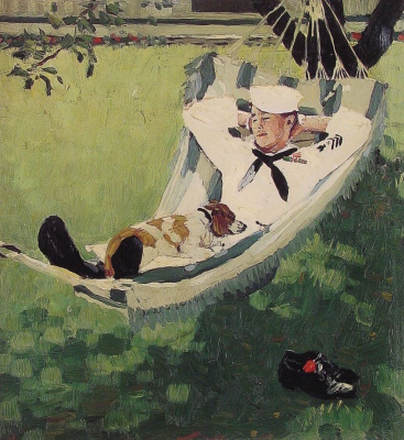 "Norman Rockwell. Willie Gillis on vacation. Cover of ""The Saturday Evening Post"" (15 September 1945)"