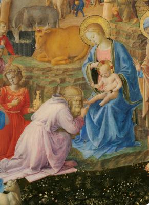 Fra Beato Angelico. Adoration of the Magi (with Fra Filippo Lippi). Fragment
