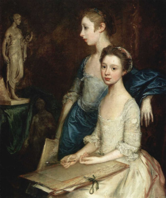 Thomas Gainsborough. Portrait of Molly and Peggy with drawing supplies