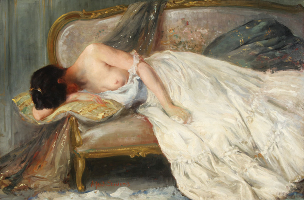 Alfred Emil-Leopold Stevens. Nude on the sofa