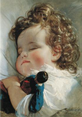 Friedrich von Amerling. Princess Marie Franziska von Liechtenstein at the age of two years. 1836