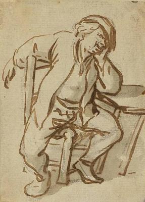 Adrian Jans van Ostade. Sitting at the table, the farmer