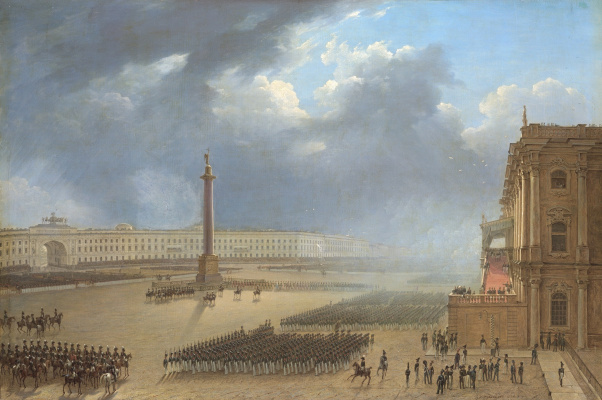 Grigory Grigorievich Chernetsov. Parade on the occasion of the opening of the monument to Alexander I in St. Petersburg on August 30, 1834.