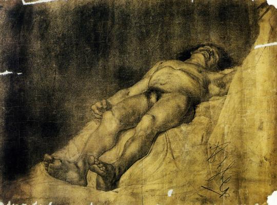 Anton Azhbe. Lying naked