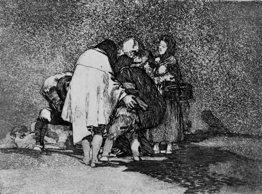"Francisco Goya. The series ""disasters of war"", page 53: He died without help"