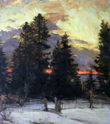 Abram Arkhipov. Sunset. Winter landscape