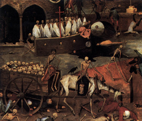 Питер Брейгель Старший. Триумф смерти. Фрагмент 4. Повозка смерти