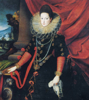 Sofonisba Anguissola. Portrait of Donna Giovanna of Austria with a fan in her hands. Fragment